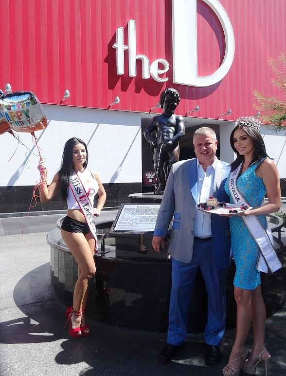 Miss Nevada USA and the D celebrate Manneken Pis first birthday at the D Casino Hotel Las Vegas!