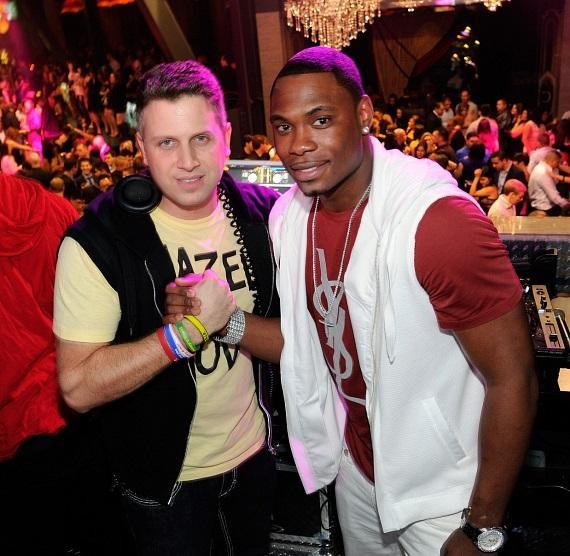 Marcus Banks and famed DJ Hollywood at Chateau Nightclub in Las Vegas