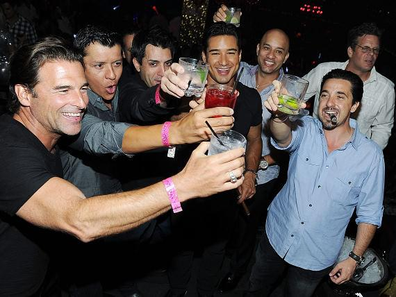 Mario Lopez toasts with friends at bachelor party in TAO