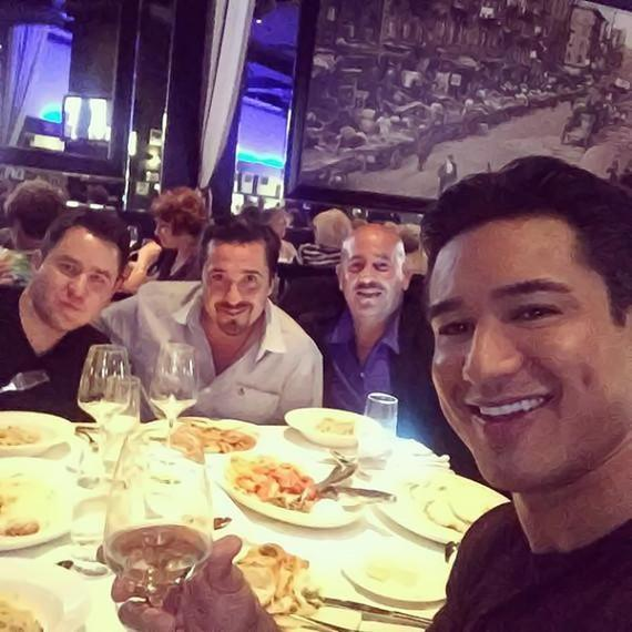 Mario Lopez and friends at Martorano's at Paris Las Vegas