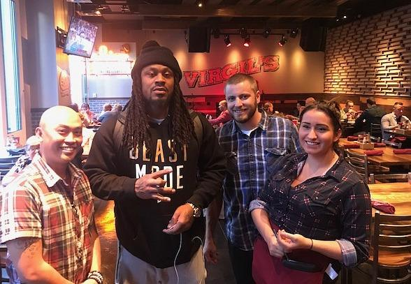 Oakland Raiders' Marshawn Lynch at Virgil's Real Barbecue in Las Vegas