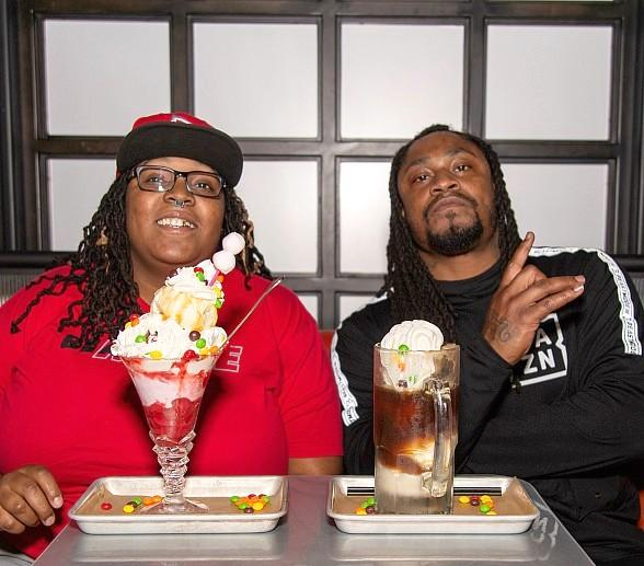 Marshawn Lynch at Moneyline Sports Bar & Book at Park MGM in Las Vegas