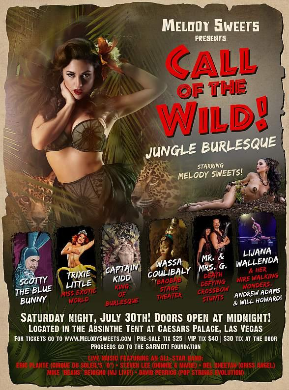 "Melody Sweets Presents ""Call of the Wild! Jungle Burlesque"" July 30 at ABSINTHE's Spiegeltent at Caesars Palace"
