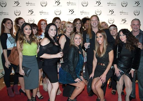 Michael Boychuck and Staff of COLOR Salon Walking the Red Carpet and Accepting Their InVegas Award for  Best Salon