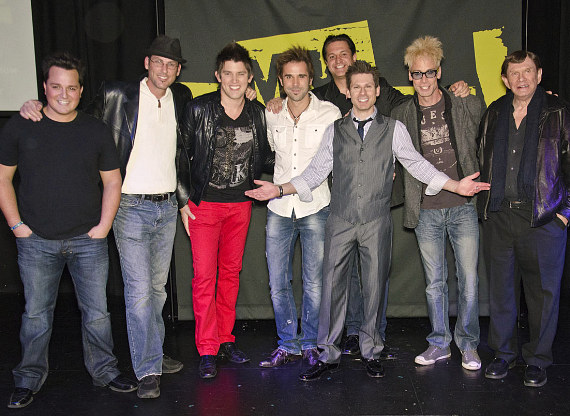 """Mike with friends including Murray SawChuck, Doug """"Lefty"""" Leferovich, Jan Rouven, Ben Stone and Michael Turco"""