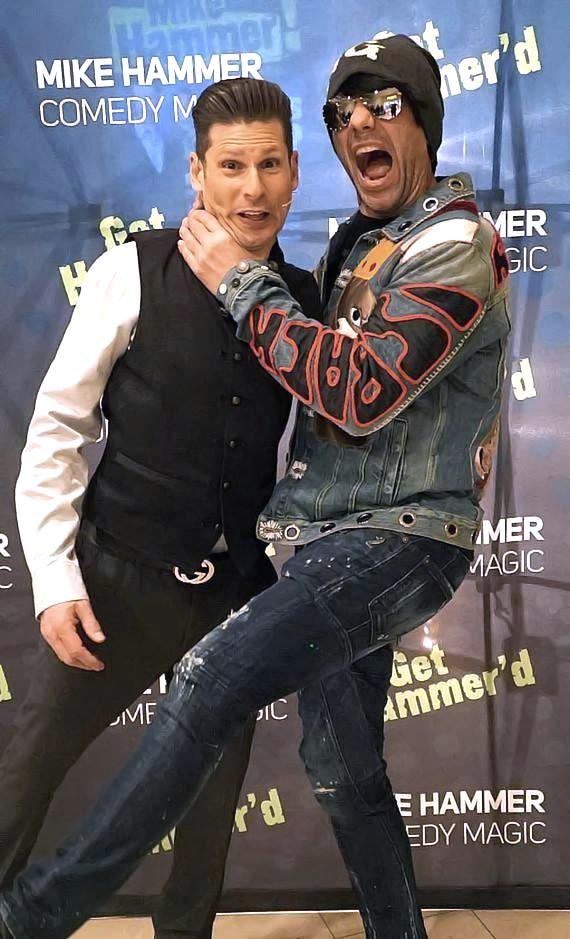 "Mike Hammer and Criss Angel at ""The Mike Hammer Comedy & Magic Show"" at The Four Queens Hotel & Casino in Downtown Las Vegas"