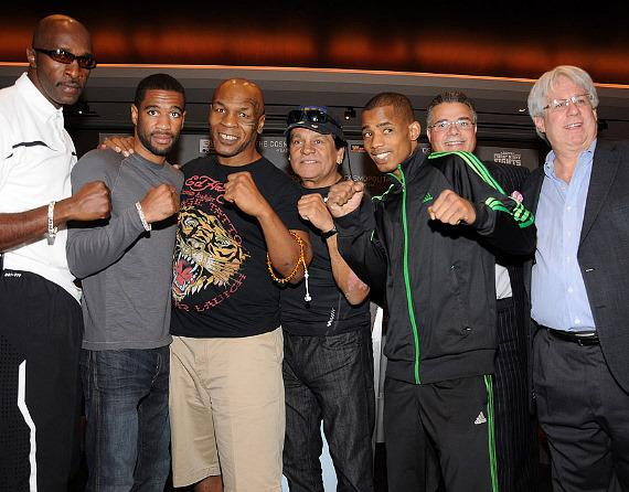 Barry Hunger, Peterson's Manager - Lamont Peterson (Fighting in the main event) - Mike Tyson, Boxing Legend - Roberto Duran, Boxing Legend -Vitor Cayo (Fighting in the main event) - Luis de Cubas of Blue Wave Group -Leon Margules of Warriors Boxing