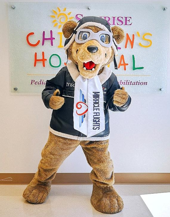 Miles the Bear debuted on June 12, 2019, as the new mascot for the nation's leading medical flight charity, Miracle Flights, which provides free commercial flights to children who need life-changing medical care not available in their local communities.