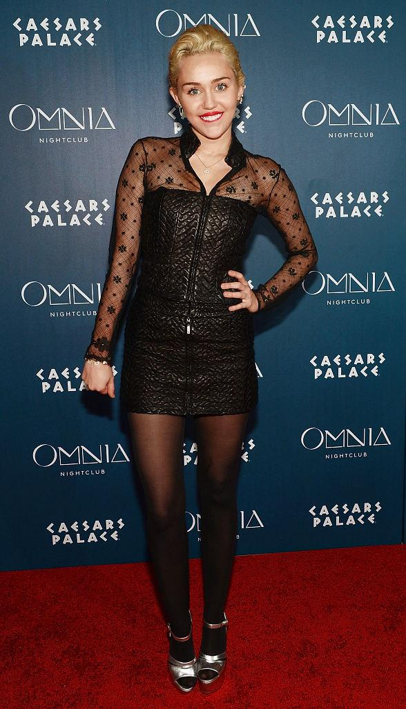 Miley Cyrus Hosts inside OMNIA Nightclub's Ultra-Lounge, Heart of OMNIA