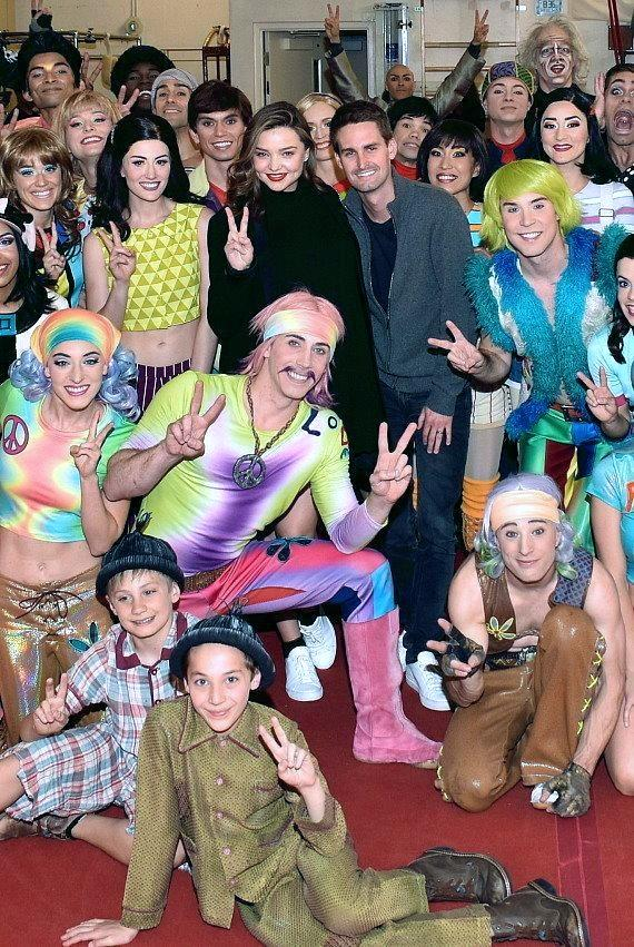 Miranda Kerr and Evan Spiegel at The Beatles LOVE by Cirque du Soleil