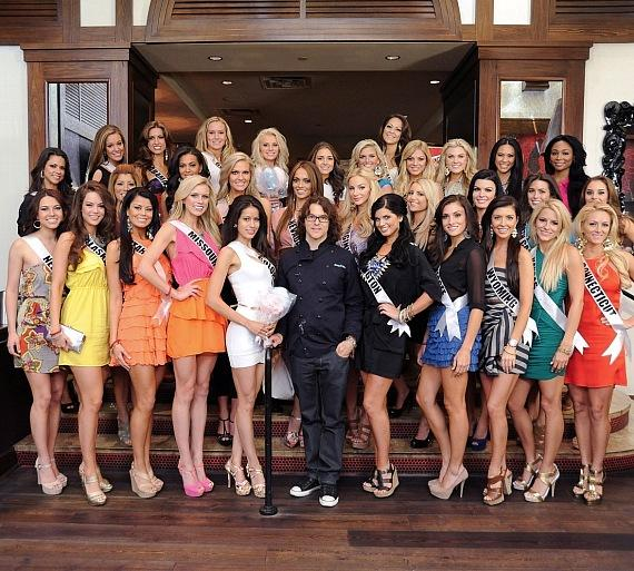 Miss USA contestants and Chef Kerry Simon at KGB: Kerry's Gourmet Burgers at Harrah's Las Vegas