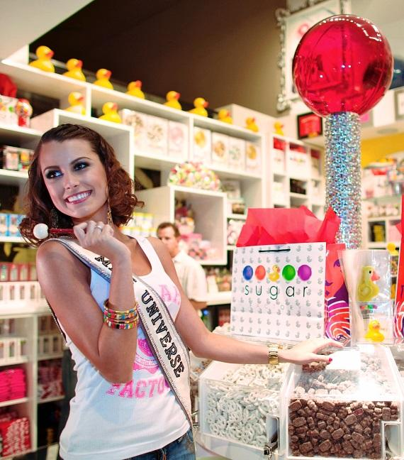 Miss Universe Stefania Fernandez shops for sweets at Sugar Factory at The Mirage
