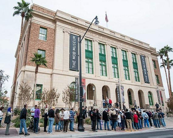 Crowds of visitors, among the more than 3,000 drawn by an offer of free admission for the day, line up outside The Mob Museum on Nov. 15, 2012