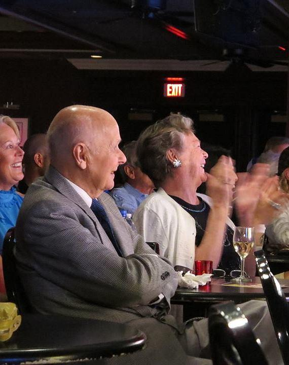 Murray's parents, John and Arlene Sawchuk, enjoy their son's 2-year anniversary show at The Laugh Factory inside Tropicana Las Vegas