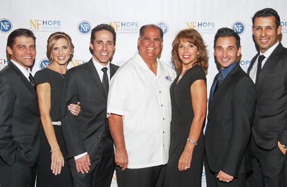 Stars of the Jersey Boys stand alongside Jeff Gordon, CEO of Nevada Childhood Cancer Foundation and Stephanie Parker, director of marketing and development as well as Melody Leibow, wife of Jeff Leibow and co-founder of the NF Hope Concert during the NF Hope Concert VIP event