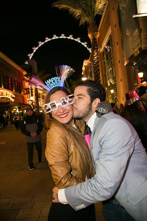 couple celebrates New Year's Eve 2015 at The LINQ Promenade and High Roller