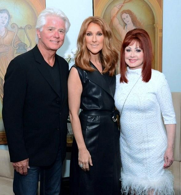 Naomi Judd and husband Larry Strickland backstage with Celine Dion at The Colosseum at Caesars Palace