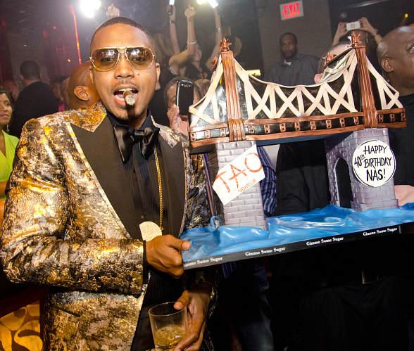 Nas at TAO with Birthday Cake