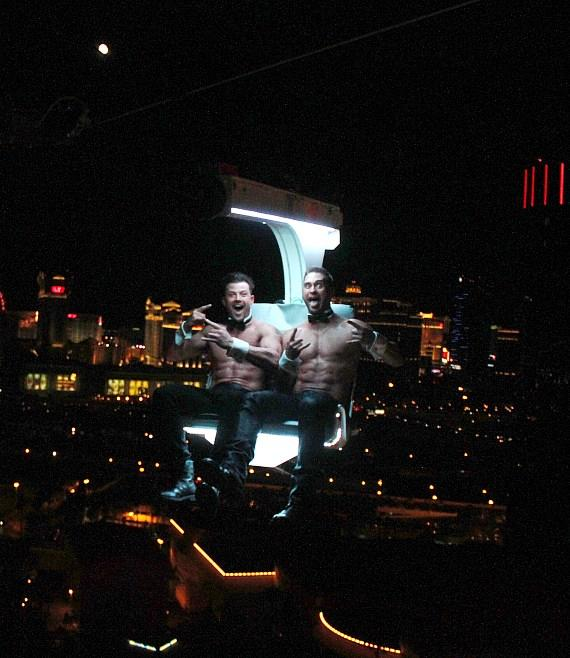 Chippendales Stars James Davis and Nathan Minor Ride the VooDoo Zip Line at Rio All-Suite Hotel & Casino