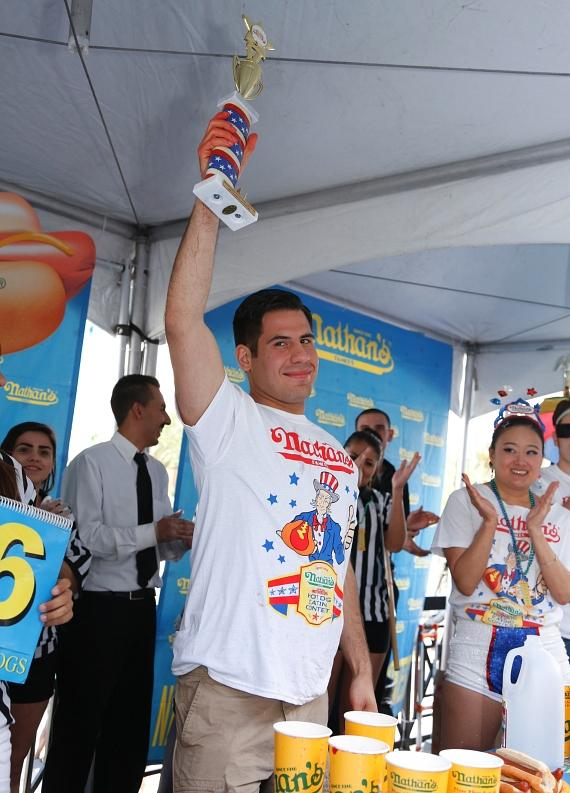 Pablo Martinez took top male honors by eating 26 hot dogs in 10 minutes