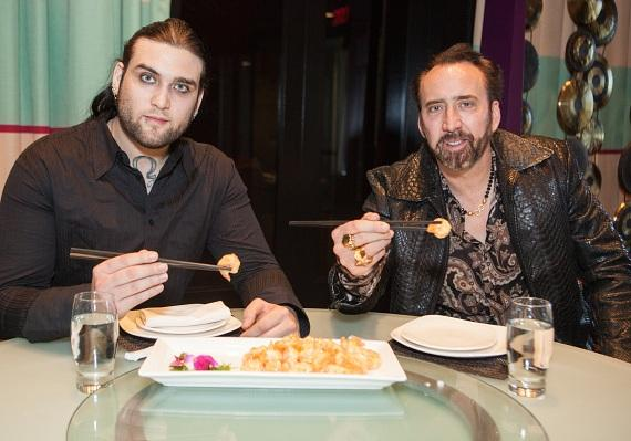 Nicholas Cage and son Weston Cage at Lao Sze Chuan