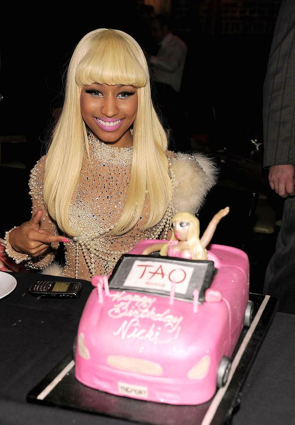 Nicki Minaj with birthday cake at TAO Restaurant in Las Vegas