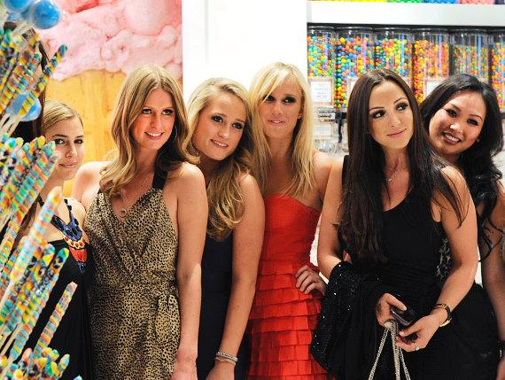 Nicky Hilton (2nd L) celebrates her cousin Whitney Davis' (3rd L) 21st birthday at Sugar Factory inside Paris Las Vegas