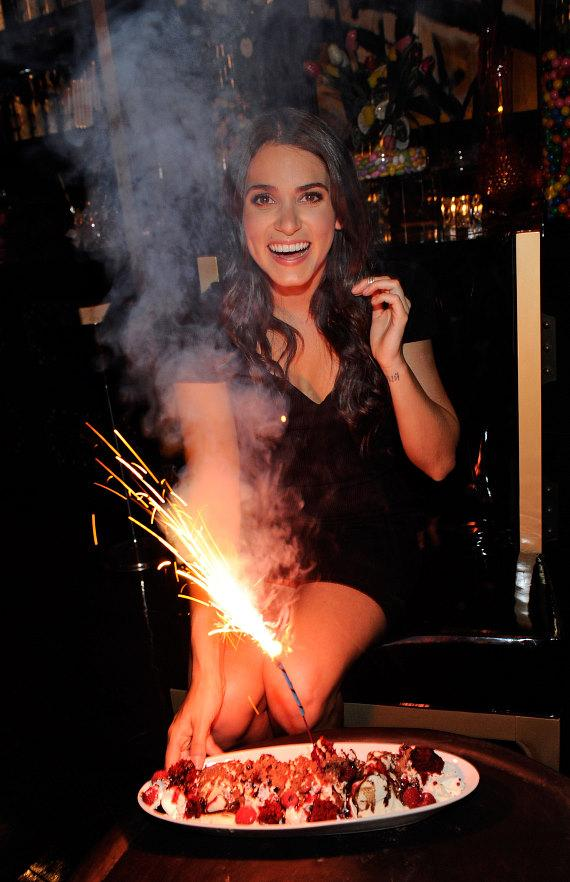 Nikki Reed with Red Velvet Ice Cream Sundae at Sugar Factory American Brasserie