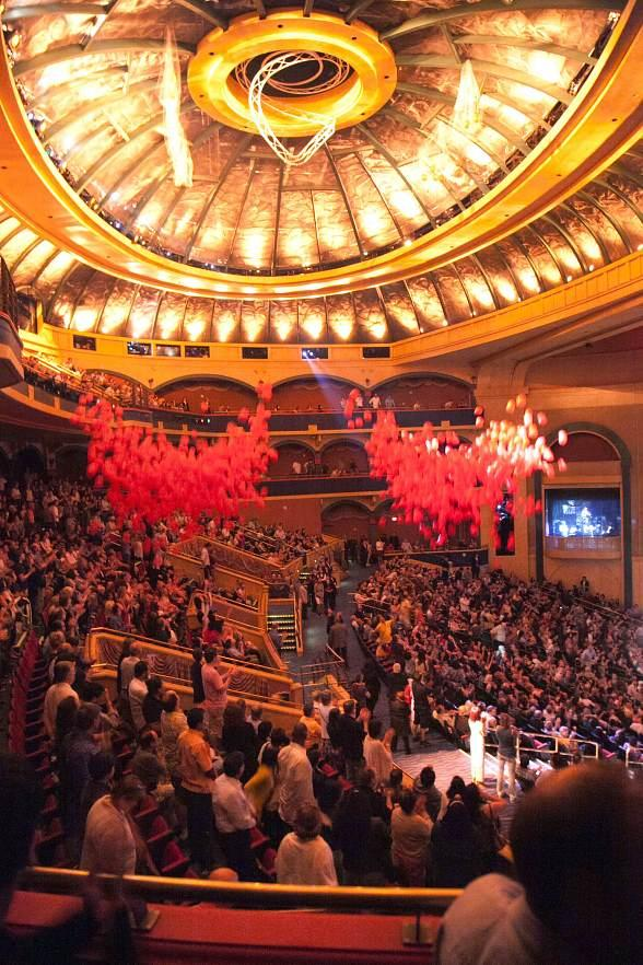 """Balloons drop over the audience following the 6,000th performance of """"O"""""""
