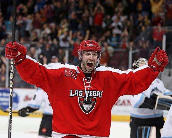 Wranglers forward Andrew Sarauer celebrates the overtime win against Alaska