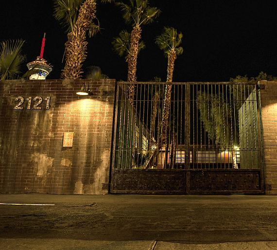 "The street entrance to the ""Official SAW Escape Experience"" in Las Vegas"