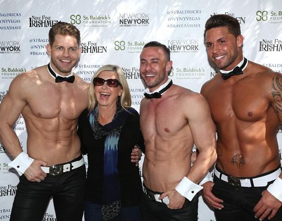 Olivia Newton-John and Chippendales Jaymes Vaughn, Ryan Stuart and Matt Marshall at New York-New York's 6th annual St. Baldrick's Day