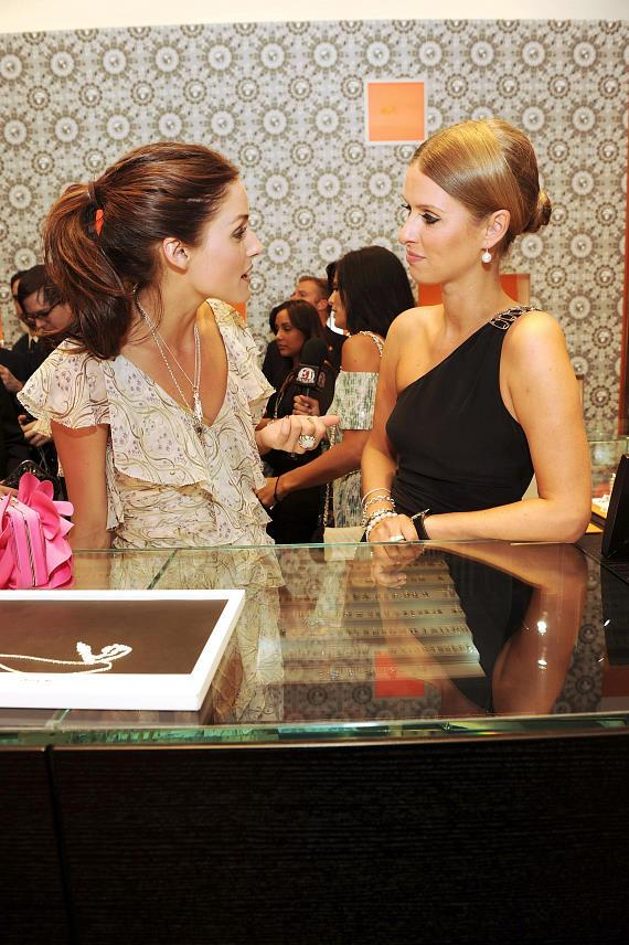 Olivia Palermo (left) and Nicky Hilton (right) viewed the latest Thomas Sabo jewelry collection while attending the grand opening on June 4 of Sabo's newest store at the Grand Canal Shoppes at the Venetian Las Vegas.