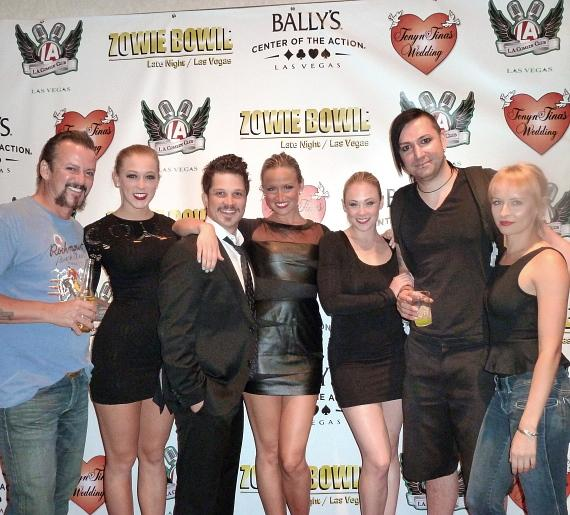 Mark Shanuck, one of the stars of Rock of Ages, was a guest on Zowie Bowie Late Night at Bally's on Thursday night. Many of his cast members were there to sing with him and cheer him on.