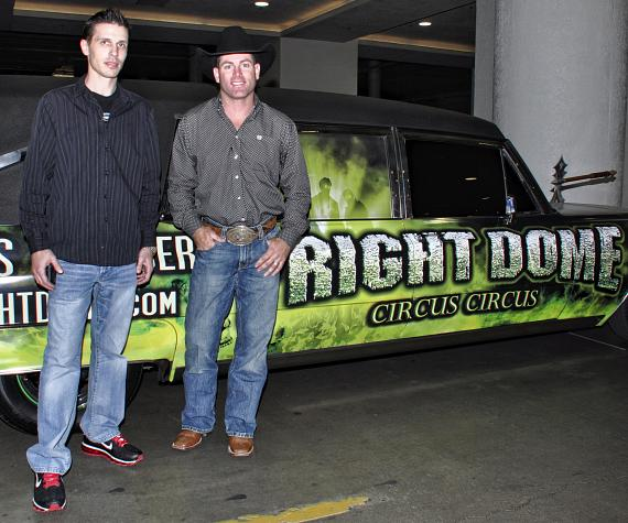 Fright Dome owner Jason Egan with PBR rider Brendon Clark