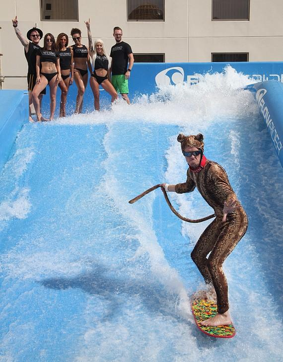"""Ronnie Nilsson, who plays """"Animal"""" in the INFERNO show, dominates the Flow Rider"""