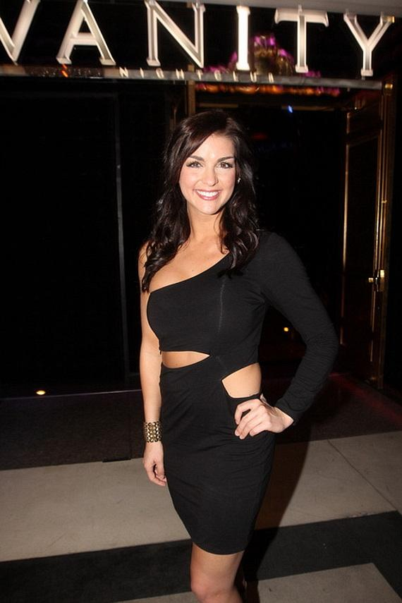 Paige Duke in front of Vanity Nightclub in Hard Rock Hotel & Casino
