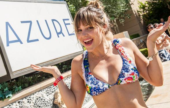 Katharine McPhee Basks in the Sun at Azure Luxury Pool at The Palazzo Las Vegas