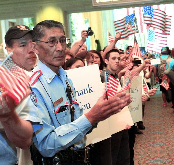 The Venetian|Palazzo team members greeting our troops at a previous ceremony