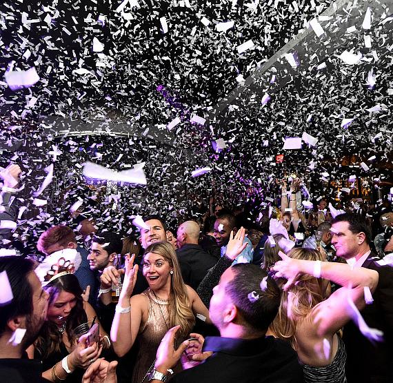 Partiers enjoyed storms of confetti throughout the night at Hyde Bellagio's NYE party