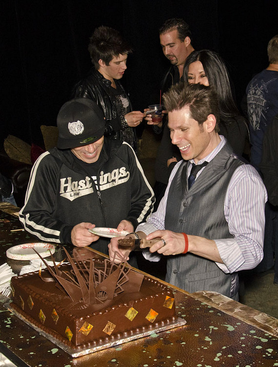 Mike Hammer serves his birthday cake at the Four Queens in Las Vegas