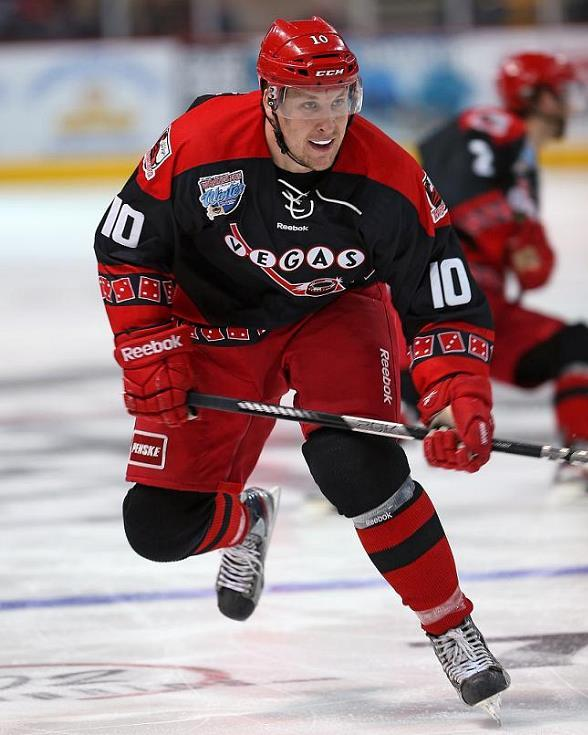 Center Geoff Paukovich dons an Indoor Winter Classic jersey for the Wranglers in 2013