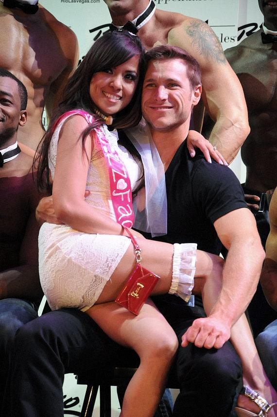 Jake Pavelka with audience member at Chippendales