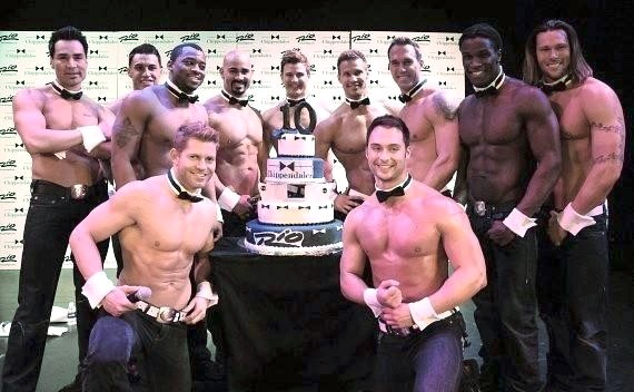 Chippendales with 10th Anniversary cake