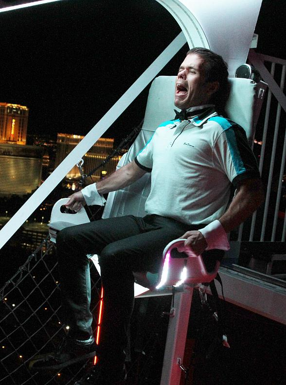 Perez Hilton Rides the VooDoo Zip Line at Rio All-Suite Hotel & Casino