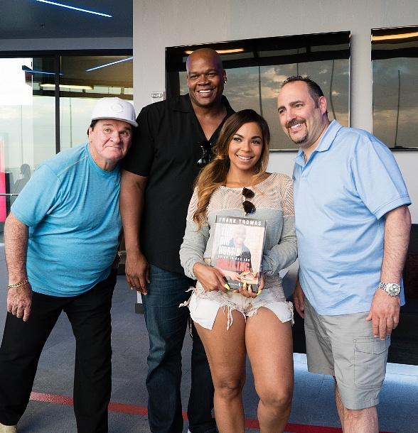 Ashanti, Pete Rose, Frank Thomas and Chef Barry Dakake at Topgolf Las Vegas