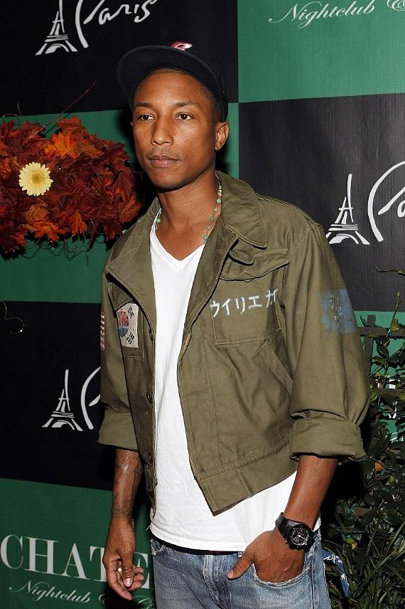Pharrell on Chateau Gardens red carpet