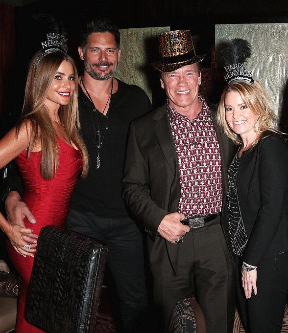 Sofia Vergara, Joe Manganiello, Arnold Schwarzenegger, Patrick Schwarzenegger and Miley Cyrus Ring in the New Year at Planet Hollywood in Las Vegas