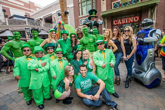 "Gathered at the entrance of O'Sheas Casino, Brian ""Lucky"" Thomas, Jeff Civillico, dancers from X Rocks and X Burlesque, a troop of leprechauns, stilt walkers, green hunks and bag pipers, kicked-off O'Sheas BLOQ Party at The LINQ."