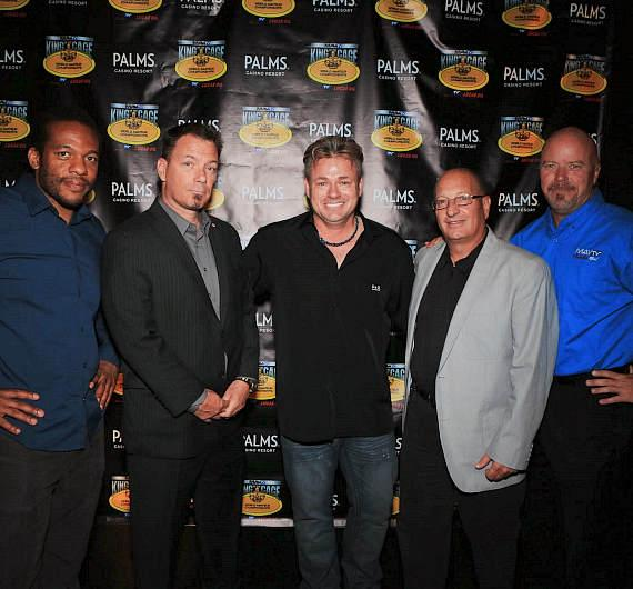 Terry Trebilcock, Founder and CEO of King of the Cage, with (L to R) renowned MMA referee and trainer Herb Dean, Ralph Cook with the I.S.K.A., King of the Cage VP Events Development Marty Gross, and Greg Cozzo of MAVTV and at a press conference announcing the World Amateur Championships held at Heraea inside Palms Casino Resort
